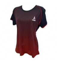 Ladies Roundneck T-Shirt, Black/Red