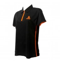 Ladies Polo Tshirt Zip Black/Orange