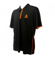 Mens Polo Neck Zip Tshirt Black/Orange